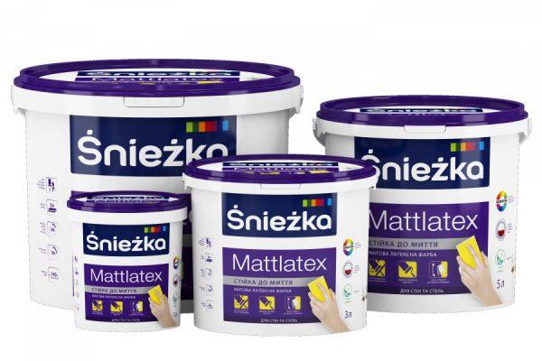 Краска латексная водоэмульсионная Sniezka интерьерная Mattlatex мат белый 5 л 7 кг