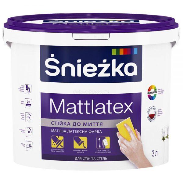 Краска латексная водоэмульсионная Sniezka интерьерная Mattlatex мат белый  3л